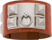 Hermès Shiny Sanguine Alligator Collier de Chien Bracelet with Palladium Hardware T, 2015 Condition: 1 Size: S