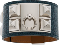 Hermès Shiny Blue Roi Alligator Collier de Chien Bracelet with Palladium Hardware T, 2015 Condition: 1 Size: S