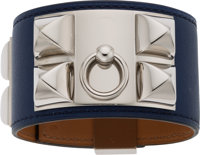 Hermès Blue Saphir Swift Leather Collier de Chien Bracelet with Palladium Hardware R Square, 2014 Condition: 1...