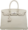 "Luxury Accessories:Bags, Hermès 35cm Gris Perle Togo Leather Birkin Bag with Palladium Hardware. O Sqaure, 2011. Condition: 3. 14"" Width x ..."
