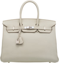"Hermès 35cm Gris Perle Togo Leather Birkin Bag with Palladium Hardware O Sqaure, 2011 Condition: 2 14"" Width..."