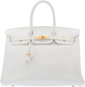 "Luxury Accessories:Bags, Hermès 35cm White Clemence Leather Birkin Bag with Gold Hardware. N Square, 2010. Condition: 4. 14"" Width x 10"" He..."