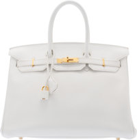 "Hermès 35cm White Clemence Leather Birkin Bag with Gold Hardware N Square, 2010 Condition: 2 14"" Width x 10&..."