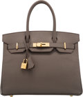 "Luxury Accessories:Bags, Hermès 30cm Etain Epsom Leather Birkin Bag with Gold Hardware. R Square, 2014. Condition: 2 . 12"" Width x 10"" Heig..."