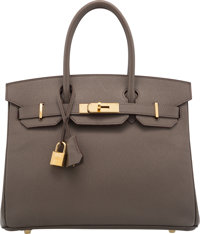 "Hermès 30cm Etain Epsom Leather Birkin Bag with Gold Hardware R Square, 2014 Condition: 2 12"" Width x 10&quo..."