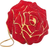 "Judith Leiber Full Bead Red Crystal Rose Minaudiere Bag Condition: 3 4.5"" Width x 3.5 "" Height x 4.5"" Dep..."