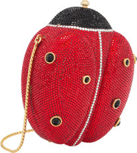 "Judith Leiber Full Bead Red & Black Crystal Lady Bug Minaudiere Condition: 3 4.5"" Width x 5.5"" Height..."