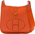 """Luxury Accessories:Bags, Hermès Orange Poppy Clemence Leather Evelyne GM Bag with Palladium Hardware. R Square, 2014. Condition: 2. 13"""" Wid..."""