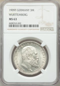 German States:Württemberg, German States: Württemberg. Wilhelm II Pair of Certified 3 Marks NGC,... (Total: 2 coins)