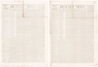 """[Mormons]. [Newspapers]. Deseret News. """"Truth and Liberty"""". Great Salt Lake City: 1852. First editions, two is..."""