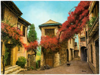 Ron Lesser Beautiful Ancient Village of Provence, France Painting Original Art (undated)