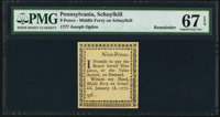 Pennsylvania Middle-Ferry on Schuykill January 18, 1777 9d Remainder PMG Superb Gem Unc 67 EPQ