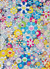 Takashi Murakami (b. 1962) Champagne Supernova: Blue, 2013 Offset lithograph in colors on satin wove paper 29 x 21 in