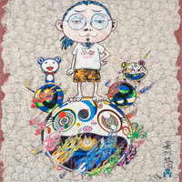 Takashi Murakami (b. 1962) Obliterate the Self and Even a Fire is Cool, 2013 Offset lithograph in colors on paper 19-