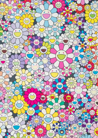 Takashi Murakami (b. 1962) Champagne Supernova: Mulicolor + Pink and White Stripes, 2013 Offset lithograph in colors o...
