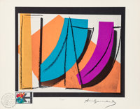 Andy Warhol (1928-1987) U.N. Stamp, 1979 Offset lithograph in colors on Rives paper, with a Swiss stamp 8-1/2 x 11 in