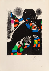 Joan Miró (1893-1983) San Lazzaro et ses amis, 1975 Lithograph in colors on Arches paper 29-5/8 x