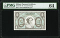 Military Payment Certificates:Series 691, Series 691 $1 Second Printing PMG Choice Uncirculated 64.. ...
