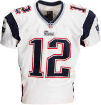 2013 Tom Brady Game Worn New England Patriots Jersey Photo Matched to Three Games!