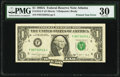 Printed Tear Error Fr. 1915-F $1 1988A Federal Reserve Note. PMG Very Fine 30