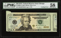 Cutting Error Fr. 2098-G $20 2013 Federal Reserve Note. PMG Choice About Unc 58