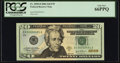 Low Serial Number 2491 Fr. 2090-D $20 2004 Federal Reserve Note. PCGS Gem New 66PPQ