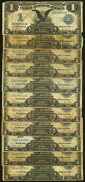Eleven Well Circulated $1 1899 Silver Certificates Good or Better. ... (Total: 11 notes)
