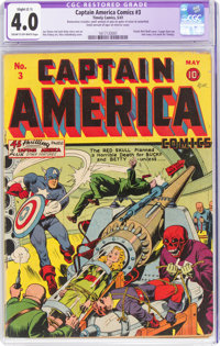 Captain America Comics #3 (Timely, 1941) CGC Apparent VG 4.0 Slight (C-1) Cream to off-white pages