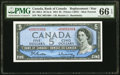 Canada Bank of Canada $5 1954 BC-39bA RC5 Replacement PMG Gem Uncirculated 66 EPQ