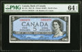 Canada Bank of Canada $5 1954 BC-31b Devil's Face PMG Choice Uncirculated 64 EPQ