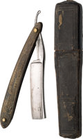 Political:3D & Other Display (pre-1896), William Henry Harrison: Rare Horn-Handled Straight Razor with Portrait and Log Cabin. ...