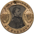 Political:Ferrotypes / Photo Badges (pre-1896), Frémont & Cochrane: Back-to-Back Gault Frame Ferrotype....