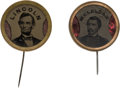 Political:Ferrotypes / Photo Badges (pre-1896), Abraham Lincoln and George B. McClellan: Red Foil Insert F...