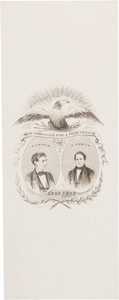 "Political:Ribbons & Badges, Lincoln & Hamlin: Jugate Paper Ribbon. 2.75"" x 7"" ..."