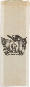 "Political:Ribbons & Badges, Abraham Lincoln: ""Honest Abe"" Silk Ribbon...."