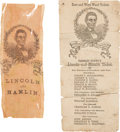 Political:Ribbons & Badges, Abraham Lincoln: Ribbon and Ballot with Unusual Portrait.... (Total: 2 Items)