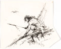 Original Comic Art:Illustrations, Roy Krenkel - Caveman Illustration Original Art (undated)....