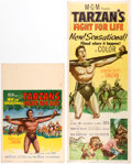 "Memorabilia:Movie-Related, Tarzan's Fight for Life (MGM, 1958). Insert (14"" X 36"") and Window Card (14"" x 22"") Group of 2.... (Total: 2 Items)"