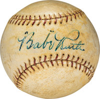 1920's Babe Ruth Single Signed Baseball