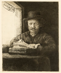 Armand Durand Apres - Rembrandt Drawing at a Window Original Etching (undated)