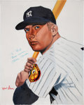 Baseball Collectibles:Others, 1980's Mickey Mantle Signed Original Artwork by Robert Simon. ...