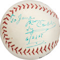 Baseball Collectibles:Balls, 1961 Ty Cobb Single Signed Baseball to His Nurse Six Weeks Before His Death, PSA/DNA NM-MT+ 8.5. ...