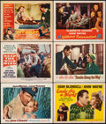 "Movie Posters:War, The Sea Chase & Other Lot (Warner Bros., 1955). Overall: Very Fine-. Lobby Cards (5) & Title Lobby Card (11"" X 14""). War.. ... (Total: 6 Items)"