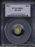 California Fractional Gold: , 1853 50C Liberty Round 50 Cents, BG-428, R.3, MS62 PCGS....
