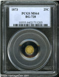 California Fractional Gold: , 1873 25C Liberty Octagonal 25 Cents, BG-728, R.3, MS64 PCGS....