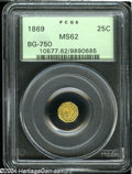 California Fractional Gold: , 1869 25C Liberty Octagonal 25 Cents, BG-750, R.5, MS62 PCGS....