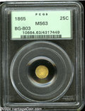 California Fractional Gold: , 1865 25C Liberty Round 25 Cents, BG-803, High R.5, MS63 PCGS....