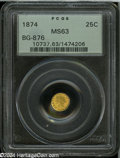 California Fractional Gold: , 1874 25C Indian Round 25 Cents, BG-876, Low R.4, MS63 PCGS.