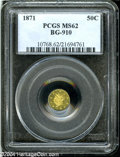 California Fractional Gold: , 1871 50C Liberty Octagonal 50 Cents, BG-910, High R.5, MS62PCGS....