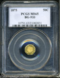 California Fractional Gold: , 1875 50C Indian Octagonal 50 Cents, BG-933, R.5, MS65 PCGS....
